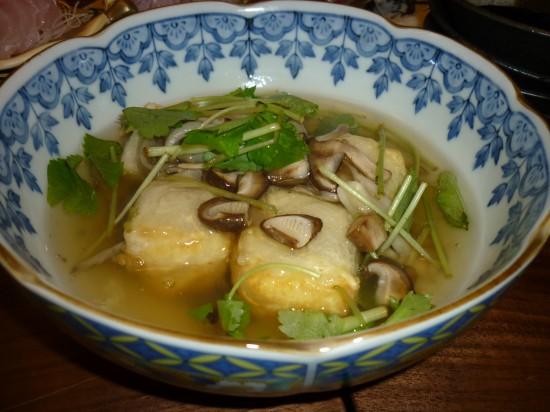 きのこ・三つ葉のあんかけ豆腐